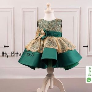 Itty Bitty Toes baby toddler girl formal green